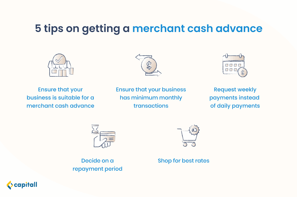 Infographic on the 5 tips on getting a merchant cash advance